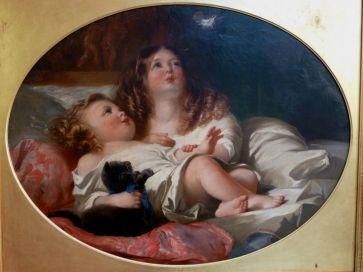 CHILDREN BLOWING FEATHER - H. BARRAUD