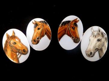 GOLD & ENAMEL HORSE CUFFLINKS