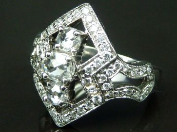 ROSE CUT DIAMOND & PAVE RING
