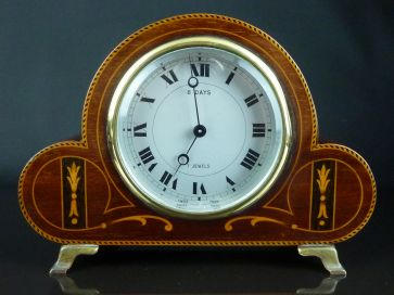 INLAID MAHOGANY MANTLE CLOCK