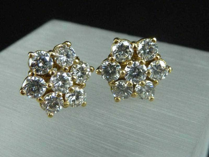 Aya Diamond Stud Earrings 14k White Gold 2 00 Carats 7 Stone