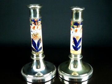 ENAMEL & SILVER PLATED CANDLESTICKS