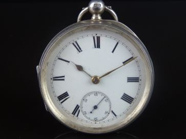 SILVER ENAMEL DIAL POCKET WATCH