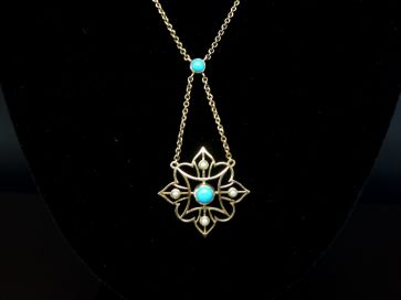 TURQUOIES & PEARL GOLD NECKLACE