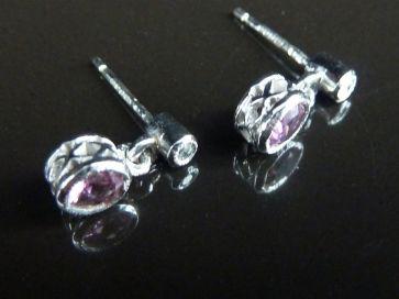 WHITE GOLD AMETHYST & DIAMOND EARRINGS