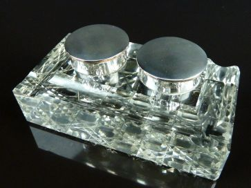 SILVER & CRYSTAL DOUBLE INKWELL