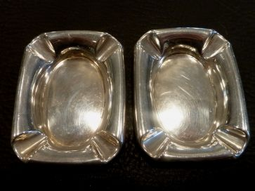 PAIR SILVER ASHTRAYS