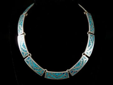 SILVER & TURQUOISE INLAID NECKLACE