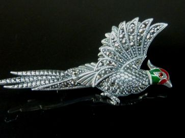 SILVER PHEASANT PENDANT BROOCH