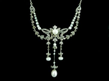 PEARL & MARCASITE SILVER NECKLACE