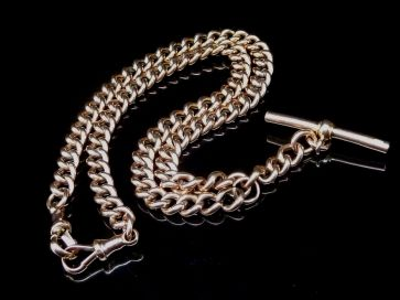 GOLD POCKET WATCH CHAIN & BAR