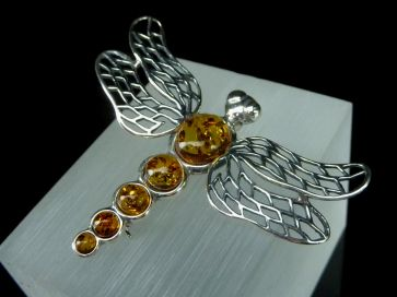 AMBER DRAGONFLY PENDANT BROOCH