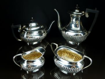4 PIECE ANTIQUE SILVER TEA SET