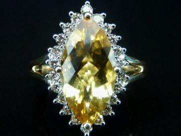 CITRINE & DIAMOND MARQUISE RING