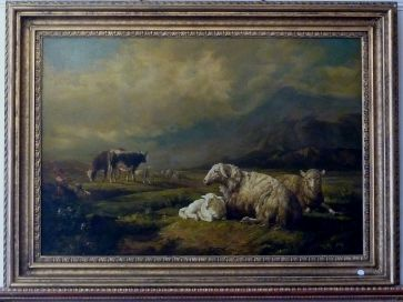 OIL PAINTING - SHEEP & CATTLE