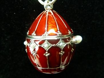 SILVER ENAMEL EGG LOCKET PENDANT
