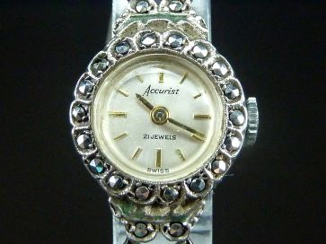 SILVER MARCASITE COCKTAIL WATCH