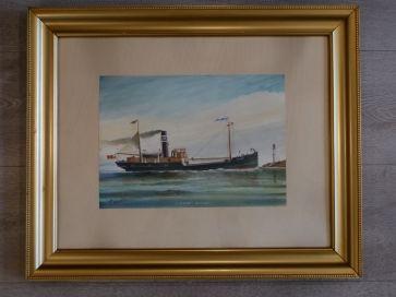 WATER COLOUR - STEAM CARGO SHIP