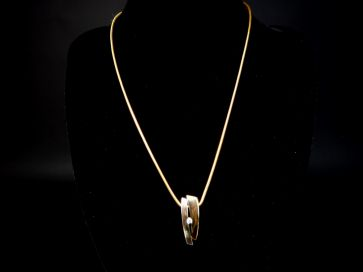 9CT DIAMOND PENDANT & CHAIN