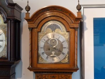 SATINWOOD MOONPHASE GRANDFATHER CLOCK