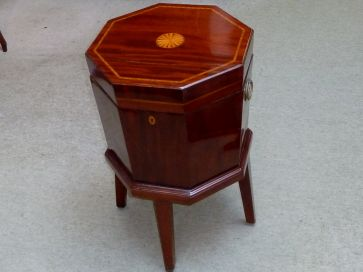 GEORGIAN MAHOGANY INLAID WINE COOLER