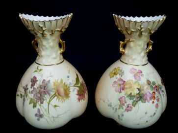 PAIR OF R.WORCESTER SCALLOPED TOP VASES