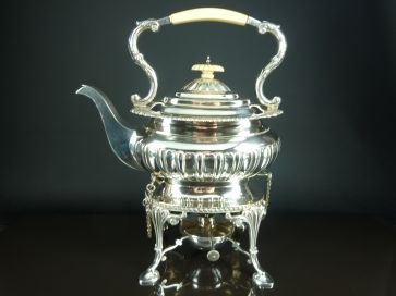 ANTIQUE SOLID SILVER SPIRIT KETTLE